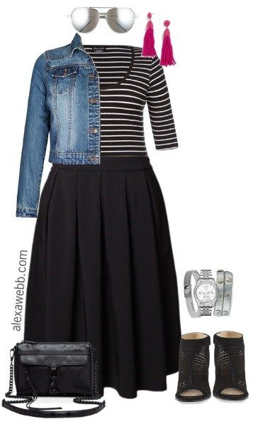 outfit for chubby girl a stripped shirt with black skirt